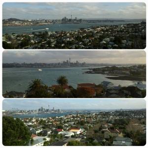 La baie d'Auckland, vue depuis plusieurs endroits du Mont Victoria