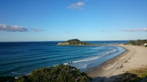 Vue sur Papamoa et la plage d'Oneroa