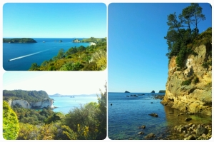 En haut à gauche: Hahei Beach; à droite: Gemstone Bay
