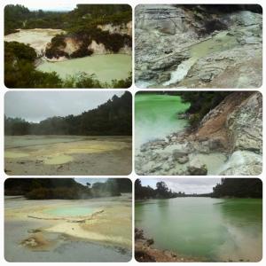 En haut à gauche: vue panoramique; milieu gauche: Frying Pan Flat; bas gauche: Oyster Pool; haut/milieu droite: vers le Lake Ngakoro