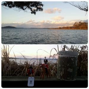 Haut: Lumière crépusculaire sur le lac... Bas: mr Wellington a trouvé un ami playmobil lors d'un geocaching !