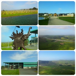 Gauche: Elephant Hill Winery / Droite: Craggy Range Winery (depuis Te Mata Peak)