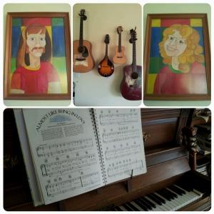 Ralph, quelques guitares, Sue, un partition sur un piano...
