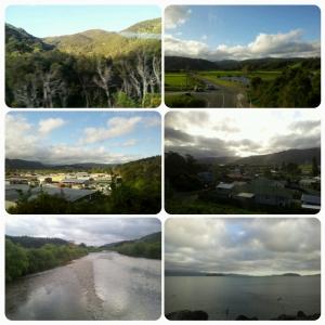 De gauche à droite, de haut en bas: Vues sur les montagnes - Upper Hutt - Lower Hutt - Rivère & Baie de Wellington